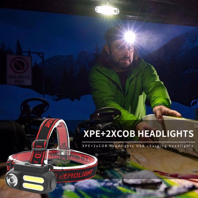 Portable Mini XPE+2xCOB Headlights USB Charging Lighting Headlights Outdoor Camping Hiking Lights Night Illumination