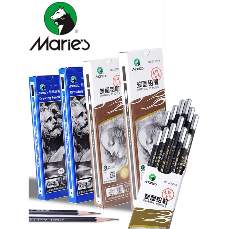 1pc Maries Professional Sketch Pencil  Drawing/Charcoal Pencil 2H HB B 2B 3B 4B 5B 6B 7B 8B 10B Art Stationery Supplies