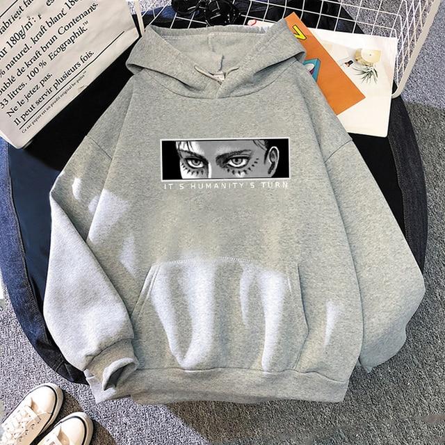 Anime Attack on Titan Hoodie Eren Yeager Print Classic Sweatshirts Funny Cartoon Harajuku Womens Mens Hip Hop Streetwear Jacket 6