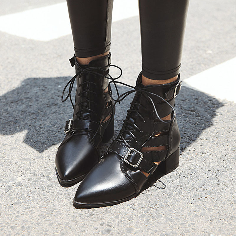 Fashion Womens Ankle Boots Mesh Shoes Sexy High Heels Lady Platform Pumps Lace Up Shoe Female women martin boots in Ankle Boots from Shoes