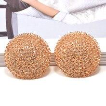Pendientes redondos de lujo para mujer, aretes de gota de cristales densos, moda de alta calidad, pendiente con diamante de imitación, accesorios de joyería para mujer