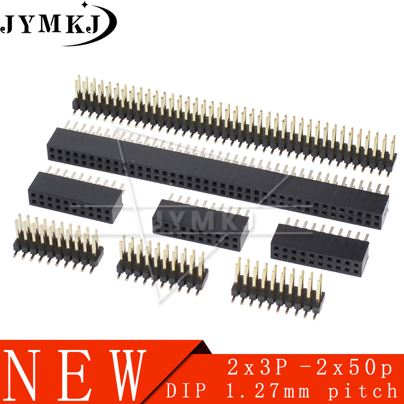 10pcs/lot 1.27mm 2*2/3/4/5/6 -50 <font><b>Pin</b></font> <font><b>pin</b></font> <font><b>header</b></font> male female pitch Male /Double Row <font><b>Pin</b></font> <font><b>Header</b></font> Strip <font><b>Gold</b></font> Plated Copper connector image