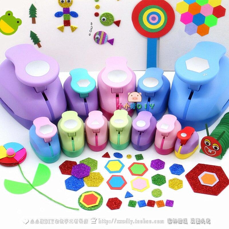Geometry Hole Puncher Large Embosser Hexagonal Circular Kindergarten Handicraft Material Children DIY Perforator Flower