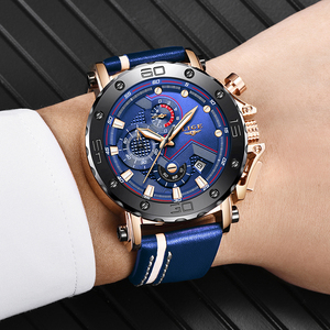 Image 4 - 2020 New LIGE Mens Watches Top Brand Luxury Big Dial Military Quartz Watch Casual Leather Waterproof Sport Chronograph Watch Men