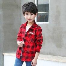 Модная детская одежда; коллекция года; сезон весна; стиль; рубашка в клетку для мальчиков; одежда с длинными рукавами и принтом цифр