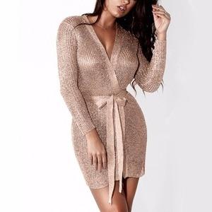 Женское сексуальное платье, вязаное платье-свитер, серебристо-золотистое клубвечерние вечернее облегающее платье с глубоким V-образным выр...