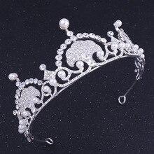 все цены на Pearl Headband Wedding Tiara Hair Bride Jewelry Kid Crystal Princess Crown for Girls with Earring Necklace Accessories онлайн