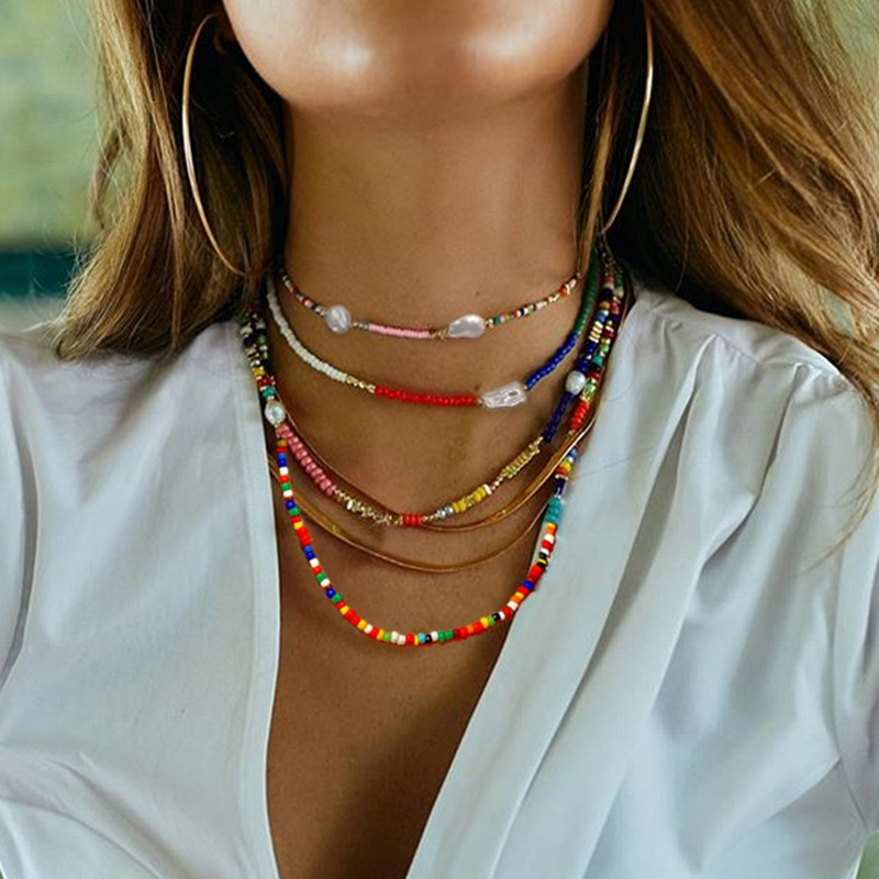 Bohemian Colorful Seed Bead Pearl Flower Choker Necklace Statement Short Collar Clavicle Summer Chain Necklace for Women Jewelry