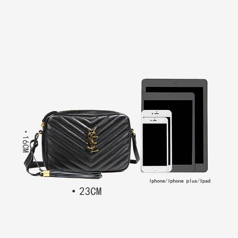 Europe And America Autumn & Winter WOMEN'S Bag Fashion Genuine Leather Shoulder Bag Has Ys Sheepskin Tassels Square Sling Bag