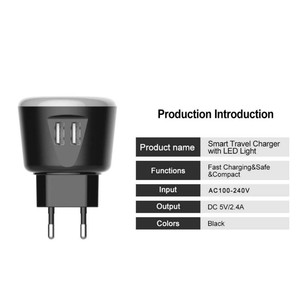 Image 3 - VOXLINK 5V2.4A Smart travel charger with LED night Light dual usb Charging For iPhone Samsung  Xiaomi Travel Universal Charger