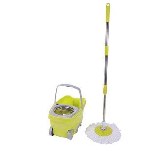 Cubo de fregona SOKOLTEC, mopa de acero inoxidable Manos libres escurrir, sistema de limpieza y fregado automático, mopa de limpieza en seco, giro de microfibra mágica