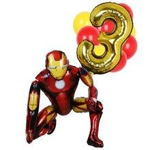 1 conjunto marvel grande homem de ferro aranha herói número 1-9 folha balões crianças decoração de aniversário látex balões chuveiro do bebê golobs ar