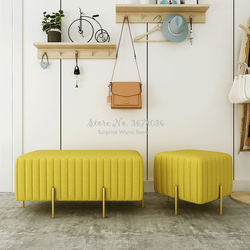 Nordic Ins Ottoman Small Bench Changing Shoes Stool Home Living Room Sofa Stool Luxury Shoes Stool For Fitting Room 45x45xH42cm