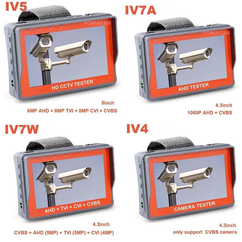 CCTV Tester Monitor IV5 IV7W Analog Camera Testing 1080P AHD TVI CVI CCTV Test Monitor RS485 PTZ Controller Power 12V Output