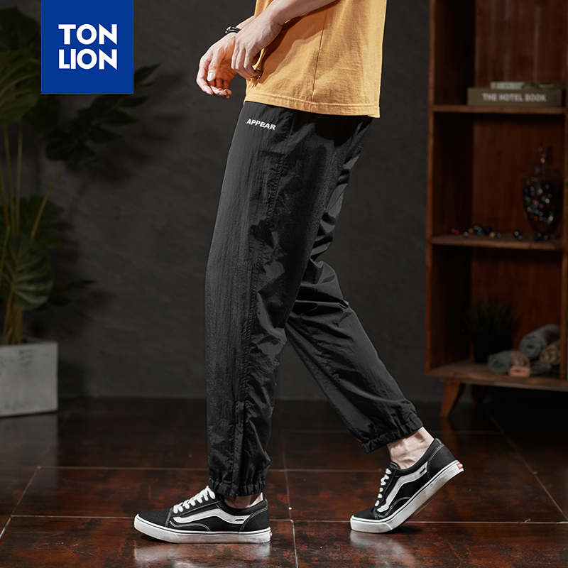 TONLION Full Length Drawstring Pants Mens Fashions Men Loose Elastic Ankle Sports Pants Casual Black Lightweight Trousers Spring