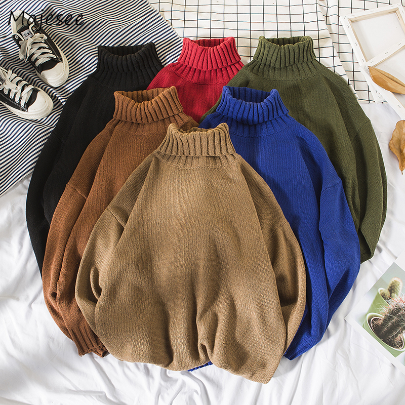 Sweater Men Korean Clothes Turtleneck Long Sleeve Tops Mens Sweaters Winter Males Casual Plus Size Comfortable Clothing Solid