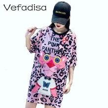 Vefadisa Women Pink Panther Pattern Dress Leopard Print Casual T Shirt 2019 ZQY036A