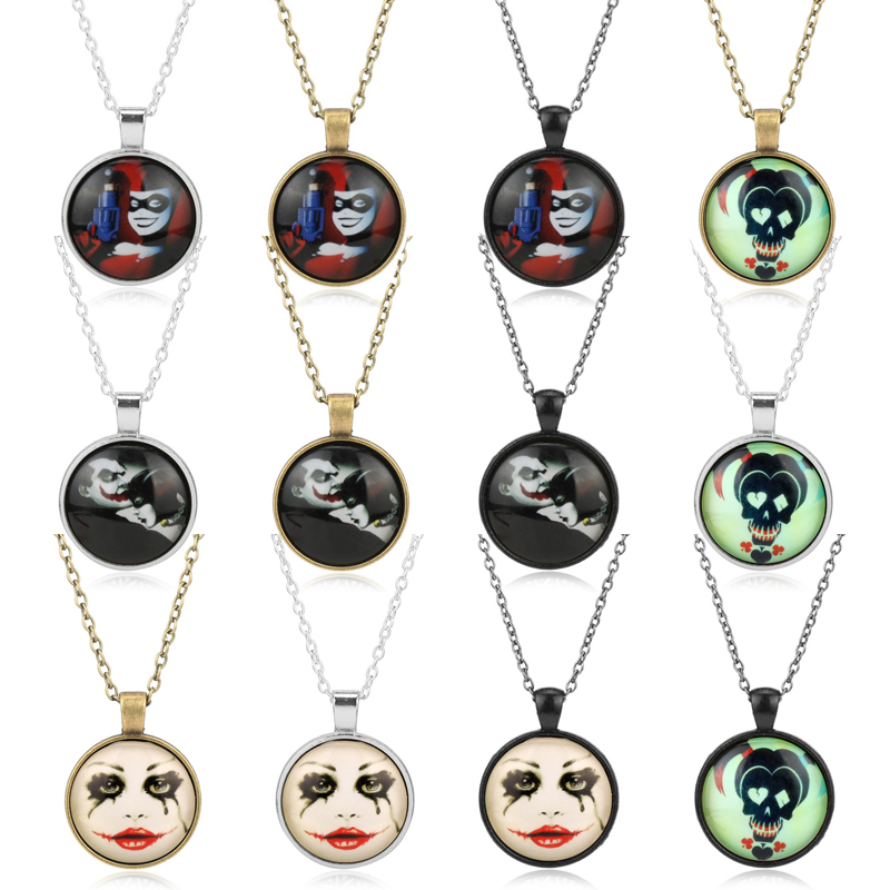 Suicide Squad Character Figure Glass Dome Necklace Men Women Children Creative Punk Jewelry Link Chain Charm Choker Gifts
