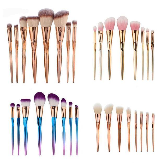 4/8pcs A Set  Metal Makeup Brushes Cosmetic Face Foundation Power Eyeshadow Blush Make Up Brush Kit Maquiagem Cotton Pad Dfdf 1