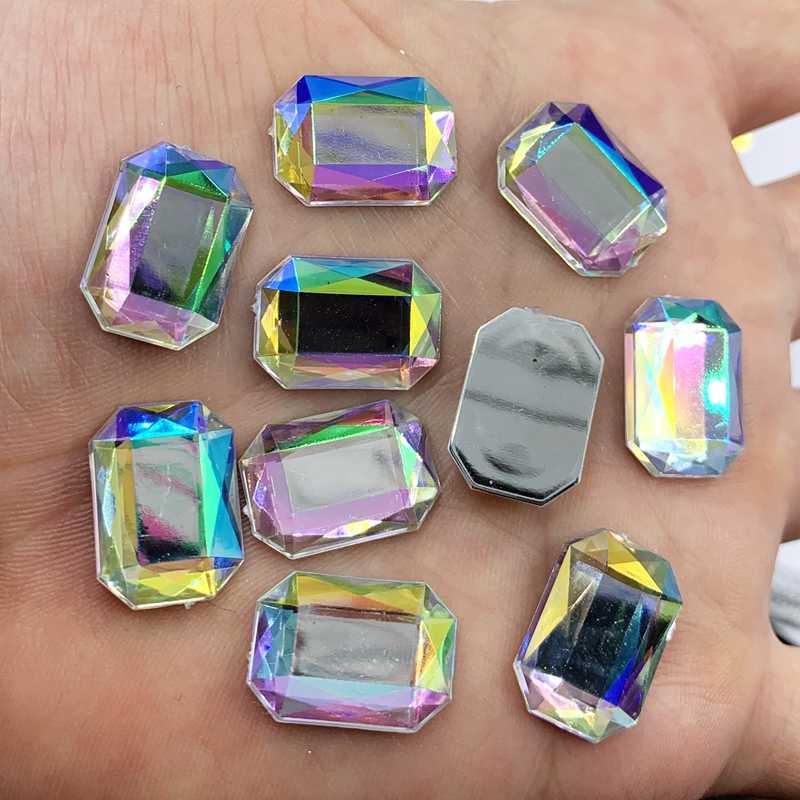 Dikdörtgen sekizgen akrilik kristal taş Rhinestone Flatback giyim ayakkabı için düğün dekorasyon DIY zanaat 30 adet 13*18mm 22Y961