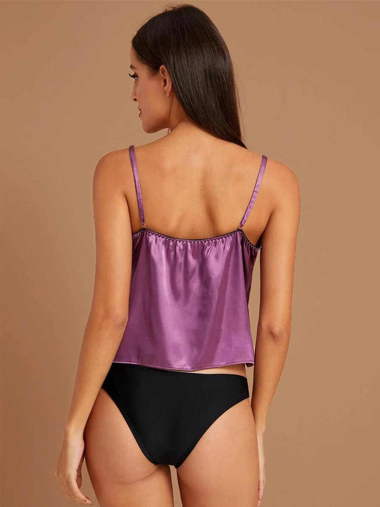 ซาติน Cami Sleep TOP ชุดนอนเซ็กซี่สปาเก็ตตี้ Pijama Femme Floral Lace ชุดชั้นในกางเกงขาสั้น