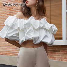 TWOTWINSTYLE White Sexy Short Tops For Women Slash Neck Puff Sleeve Ruched Blouse Female