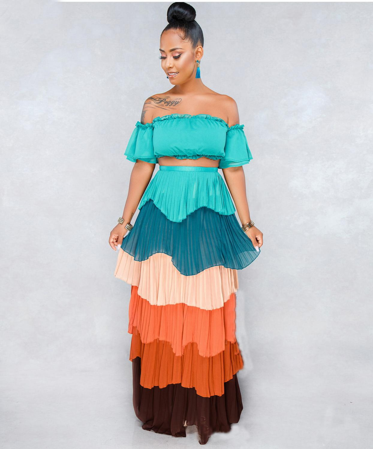 YSMARKET 2 Color Two Piece Set Hot Sexy Off Shoulder Short Top And Pleated Ruffle Long Maxi Skirts Set Boho Style Beachwear