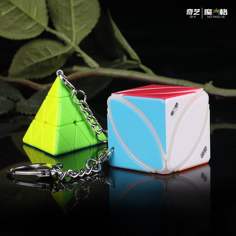 Qiyi IVY Keychain Key Ring Cube 3x3 Cube Puzzle Magic Cube Pyramid Maple Leaf Cube Bag Ornament Cube Educational Toys