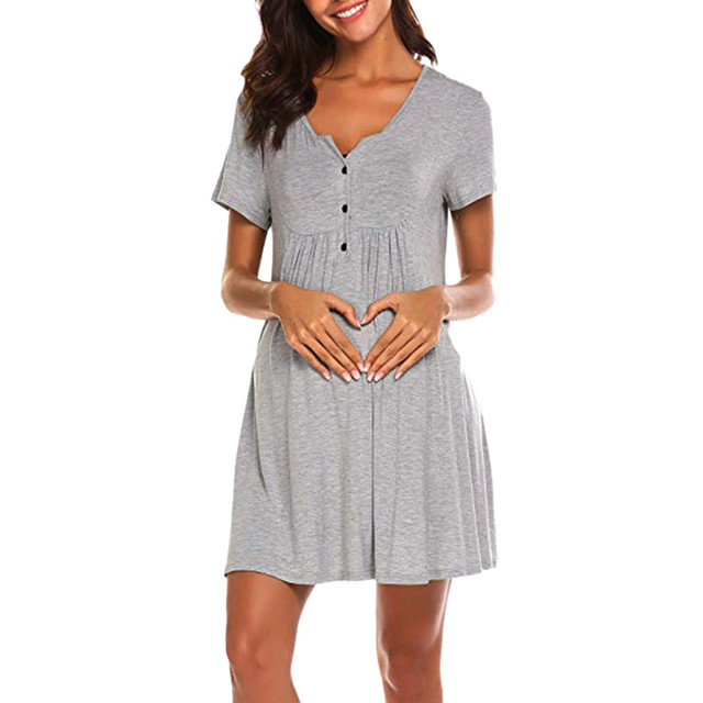 Women's Nursing Maternity Dress + Breastfeeding Nightshirts 3