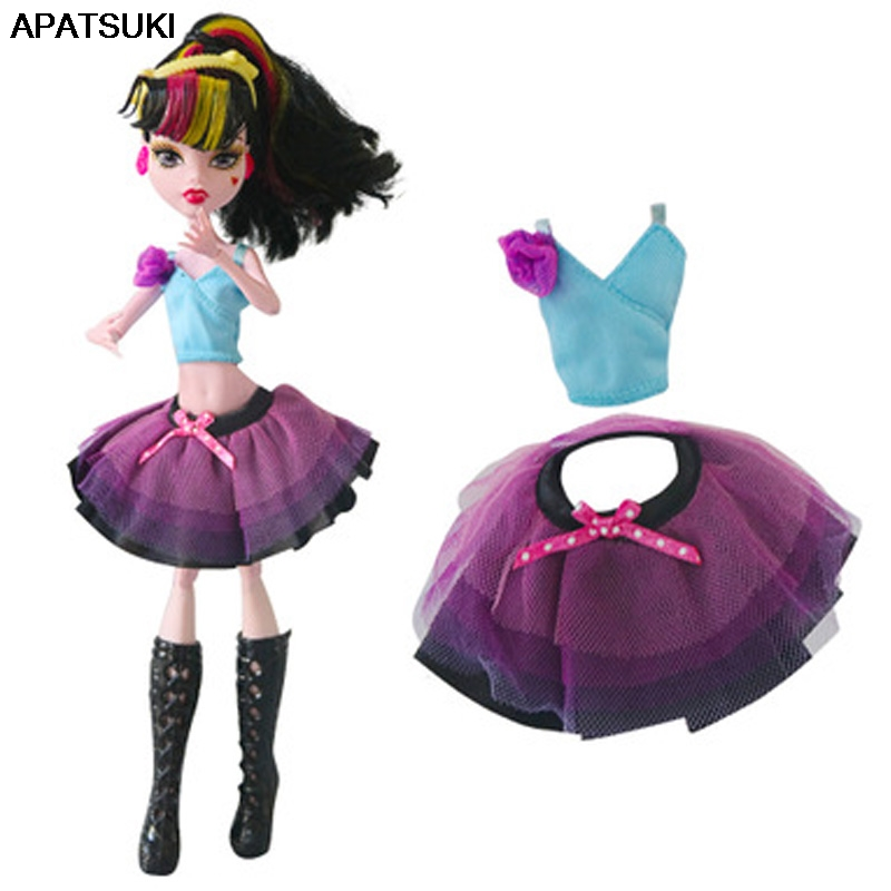 1set Doll Clothes For Monster High Doll Light Blue Flower V-Neck Sleeveless Top + Bowknot Short Skrit Outfits For Monster Doll