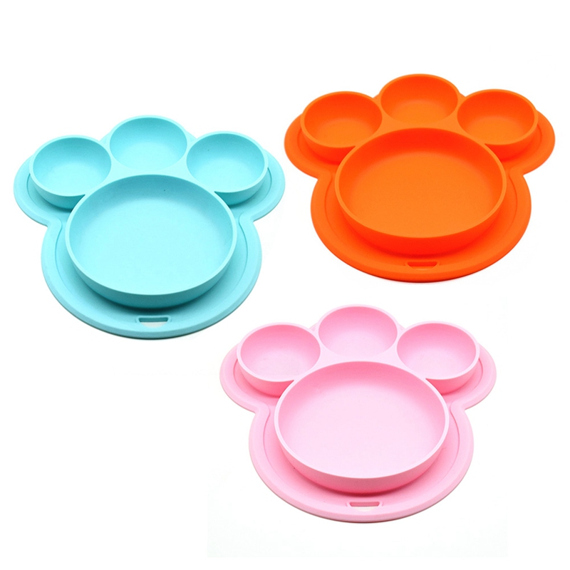 Baby Feeding Silicone Plate With Suction Cup Kids Bowls Children Feeding Dishes Tableware Food Container Plate For Kids