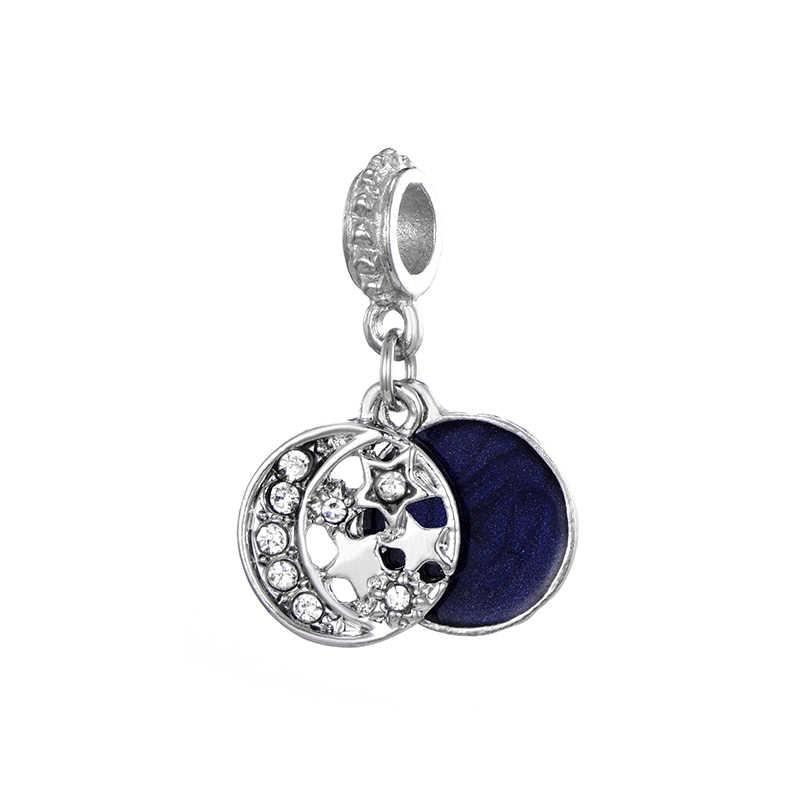 Lua azul estrela contas de cristal se encaixa pandora charme pulseira colar diy fazendo para as mulheres presente noite estrela contas de cristal acessórios