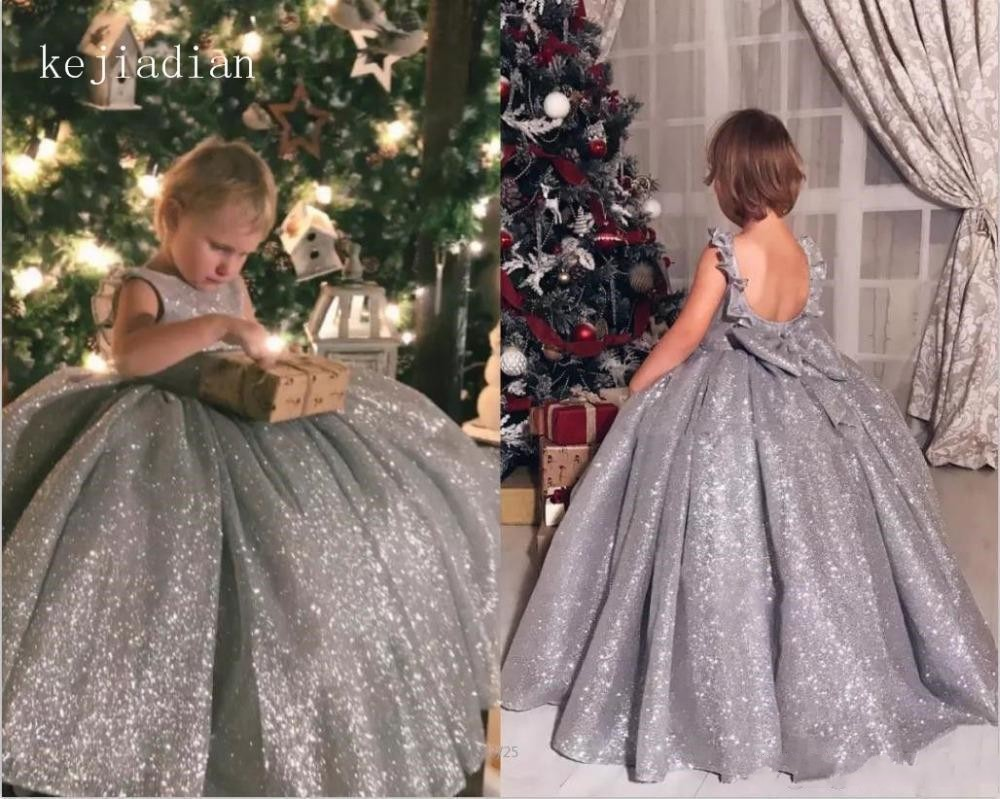 Shiny Silver Sequins Ball Gown Little Girl Formal Dresses Flower Girls' Dresses Tutu Puffy Little Child Kids Pageant Gowns