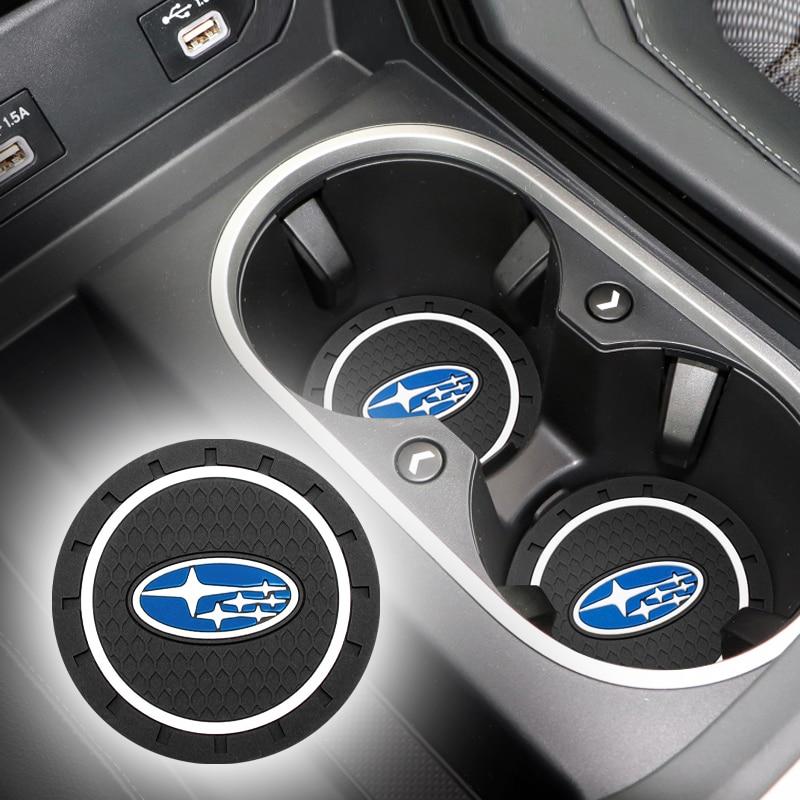 2pcs Car Coaster Silicone Epoxy Coaster Car Decoration For Subaru XV Forester Oytback Impreza Legacy WRX WRC STI Accessories