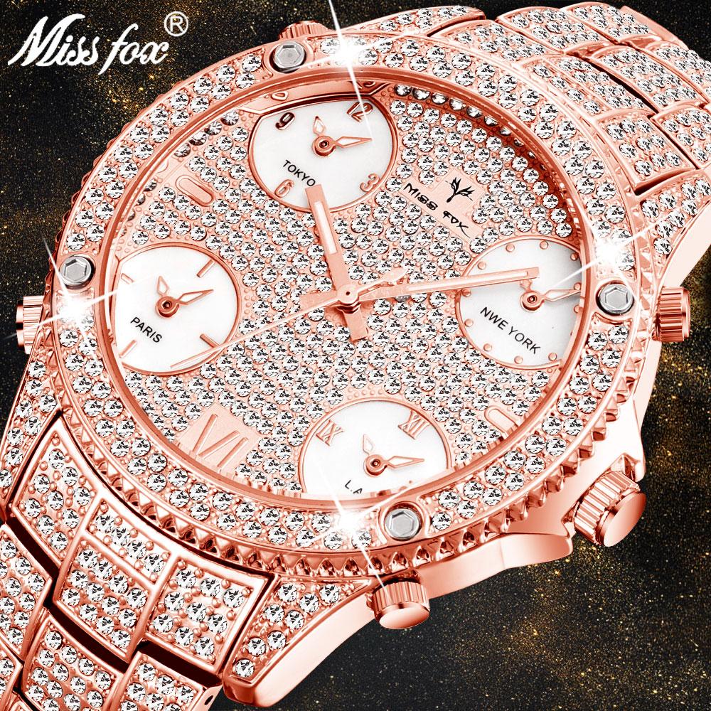 MISSFOX Rose Gold Men's Luxury Watch Luminous Waterproof 51MM Oversized Multiple Time Zone Hip Hop Icd Male Diamond Wrist Watch
