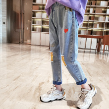 Teenage Girls Jeans Children Spring Autumn Letter Hole Straight Pants Kids Clothing Casual Denim Trousers