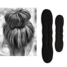 17,5 см и 22,5 см черные бигуди для укладки волос, волшебное кольцо, зажим из губки, пенопластовый пончик, инструмент для скручивания, 1/2 шт.