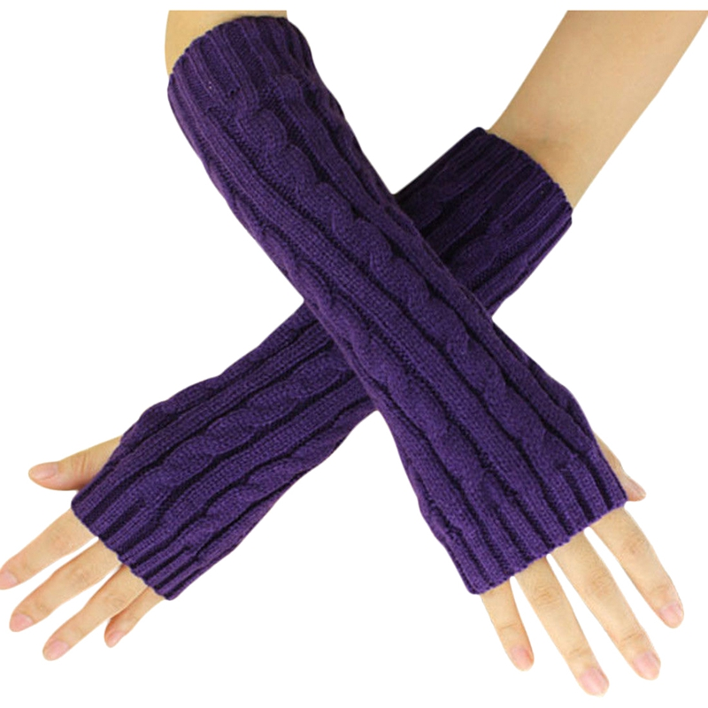 Fashion Winter Women Men Gloves Unisex Arm Warmer Long Fingerless Knit Mitten Purple
