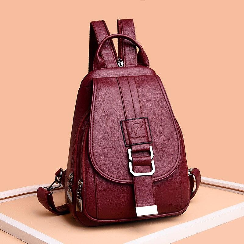 Backpack Women Shoulder School Travel Bags Vintage Leather Anti Theft Backpack Back Pack Lady