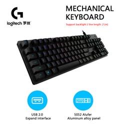 Logitech-Teclado mecánico G512 Original con cable de 104 teclas, retroiluminación RGB, azul, para PC y portátil