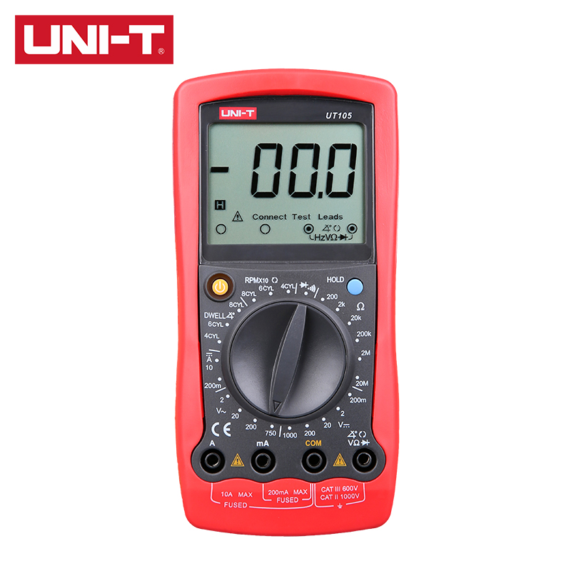 UNI-T <font><b>UT105</b></font>/UT107/UT109 Digital Automobile Multimeter 2000 Display Count Diode Data HoldInput Protection Low Battery Indication image