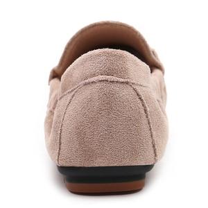 Image 5 - 2020 נעלי בלט דירות נעלי אישה חורף צאן מוצק מוקסינים מוקסינים אפונה בפלאש אגרול דירות הנעלה רך אמא שטוח