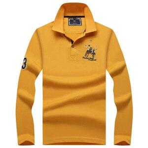 Image 5 - زائد حجم قمصان بولو للرجال العلامة التجارية قميص قطني بكم طويل Camisas الصلبة التطريز بولو الصيف الوقوف طوق الذكور قميص بولو