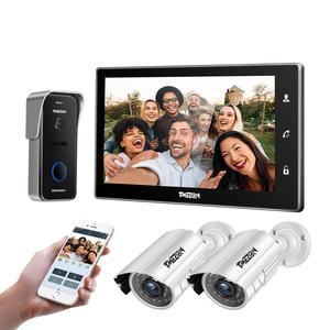 TMEZON 10 дюймов Wif видео домофон дверной звонок домашняя система безопасности дверной динамик панель вызова + 7 дюймов монитор + 2x960p камера