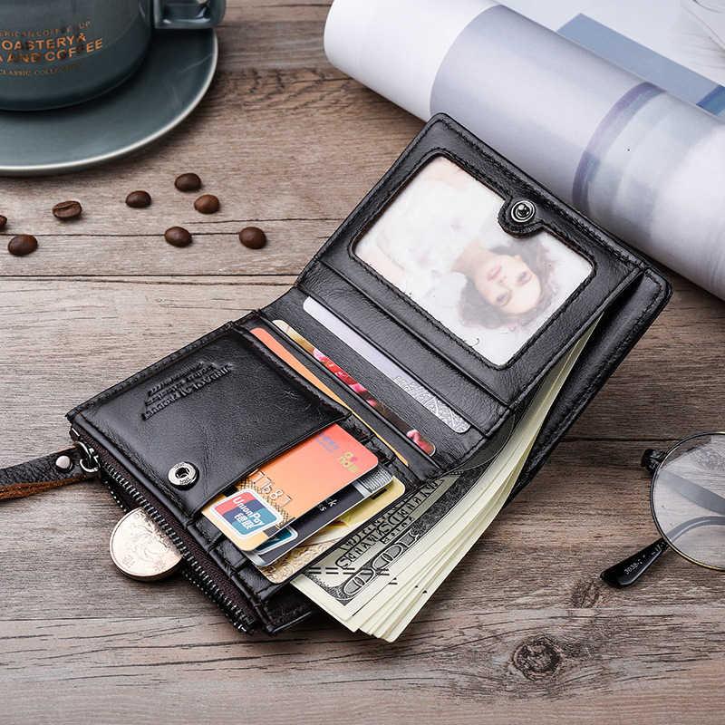 DIENQI kazınmış hakiki deri erkek cüzdan Vintage lüks küçük ince ince fermuar cüzdan siyah çantalar para çantası özelleştirilmiş hediyeler