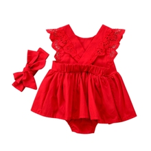 Baby Girls Bodysuit Dress Sleeveless Cotton Lace Jumpsuit Bow Hair Band Red New