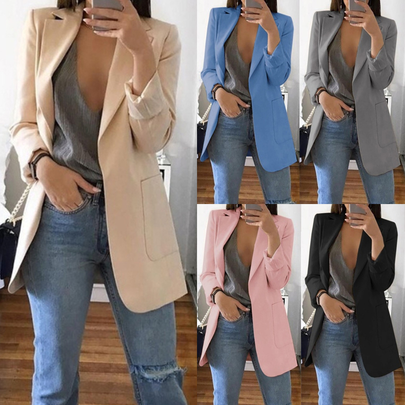 Autumn Womens Jackets And Coats Red Pockets Notched Sexy Plus Size Ladies Blazer Fashion Long Sleeve Oversize Outwear Mujer 2019