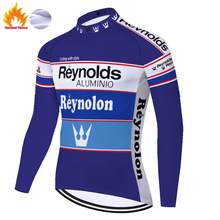 Team retro cycling jersey reynolds Winter Thermal Fleece bike shirt Men long sleeve abbigliamento bici da corsa uomo