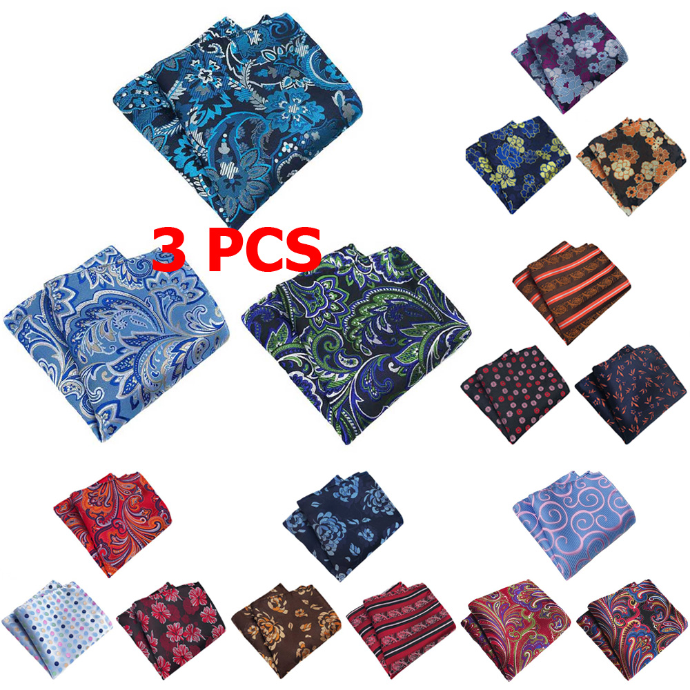 3 PCS Men Paisley Floral Stripe Pocket Square Handkerchief Wedding Party Hanky