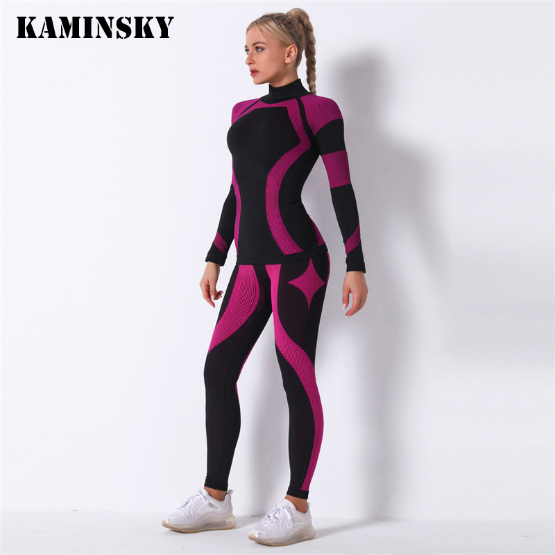 Kaminsky Women 2pcs Seamless Set Sport Suit Gymwear Workout Clothes Long Sleeve Gym Top High Waist Leggings Fitness Women Sets|Women's Sets| - AliExpress